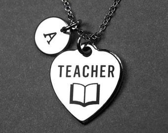 Teacher necklace, best teacher necklace, school necklace, teacher book necklace, personalized necklace, initial necklace, monogram charm