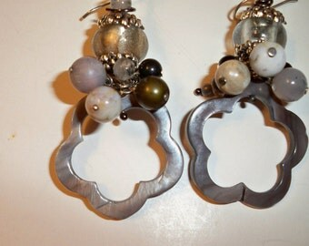Silver Mother of Pearl Earrings with Scalloped Silver MOP Beads and Silver Gray Bead Clusters