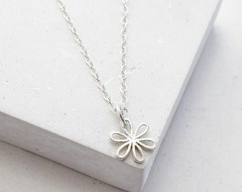 Flower Charm Necklace | Flower Pendant | Daisy Necklace | Bridesmaid Gift | Flower Girl Gift | Sterling Silver