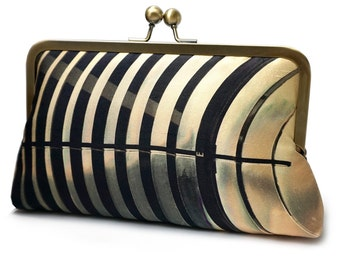 Striped clutch bag, silk purse, gift for her, contemporary clutch, graphic black stripe handbag, LIGHTHOUSE MIRROR