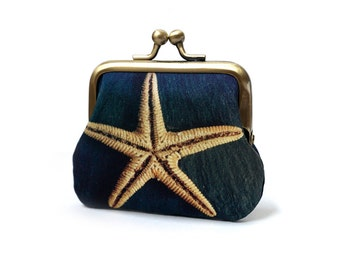 Mini purse, coin pouch, printed silk, gift for her, STARFISH