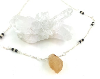 Wire Wrapped Necklace, Citrine Necklace, Gemstone Necklace, Citrine Gemstone, Sterling Necklace, Gemstone Jewelry