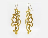 Gold Tattoo Earrings, Long Gold Earrings, Gold Tattoo Earrings, Boho Chic Gold Earrings, Long Earrings, Gift for Her, Indian Jewelry
