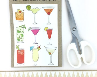classic cocktail temporary tattoos - realistic fake tattoo body art - martini , mojito , pina colada , bloody mary , cosmopolitan, party