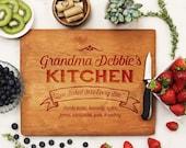 Personalized Cutting board, Custom Cutting Board, Grandma's Kitchen Cutting Board, Custom Engraved Cherry --21058-CUTB-003