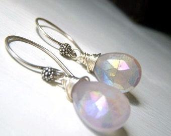 Lavender Chalcedony Earrings Sterling Silver, Lavender Pink Earrings, Mystic Coat Wirewrapped Dangle Briolette, Teardrop Gemstone Earrings