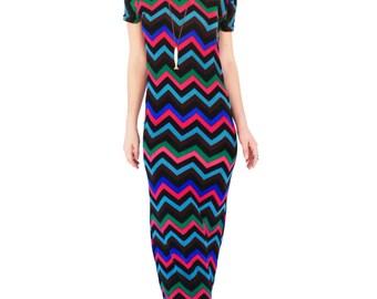 Agoraphobix The zig zag 70s knit Streetwear maxi dress | boho dress