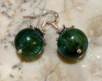 Blown Glass Hollow Balls Emerald Green Sterling Silver Earrings Nc2225 - SRA by Lynn