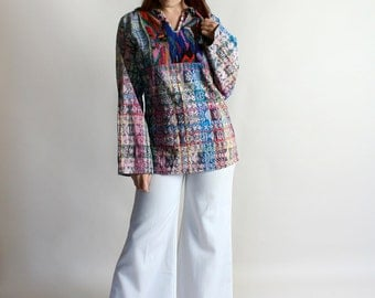 Vintage Guatemalan Huipil Top - Rainbow Colorful Long Sleeve Woven Embroidered Tunic Shirt - Medium Large