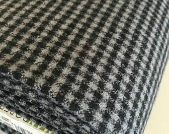 Flannel Plaid Fabric, Handmade Scarf Fabric, Apparel Fabric, Mammoth Flannel by Robert Kaufman, Mini Black and Gray Check, Black Plaid