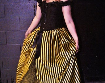 Ready to ship - Bee Queen tulle skirt Victorian Ball gown prom skirt yellow black fabric lace costume halloween -Small- Sisters of the moon