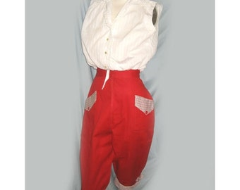 Rare Vintage 1940's High Waisted Red Clamdigger Pants