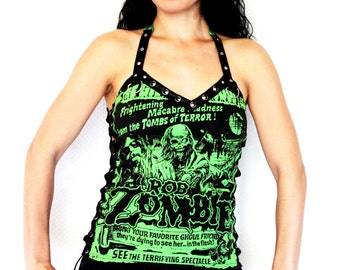 Rob Zombie shirt heavy metal tank lace up top alternative clothing apparel reconstructed rocker clothes altered band tee t-shirt