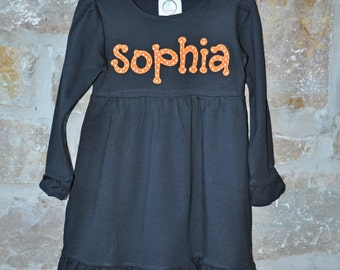 HAPPY HALLOWEEN -  Monogram Personalized Dress - 18m-8 years  - Julianne Originals