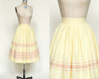 1950s Gingham Skirt --- Vintage Yellow Full Skirt