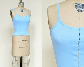 1970s Tank Top --- Vintage Blue Shirt
