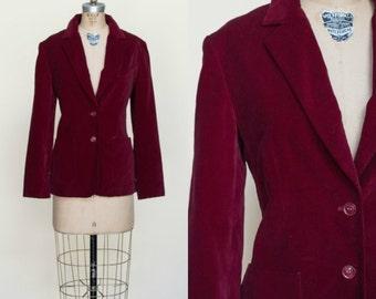 1970s Blazer --- Vintage Cranberry Velour Jacket