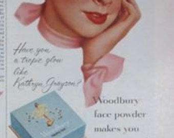 Woodburry Face Powder Makeup Movie Star Kathryn Grayson 1/2 Page Vintage Advertising Wall Art Decor E121