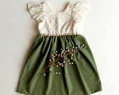 Cream and Olive Verona Dress for Toddler and Girl, Special Occasion, Birthday and Flower Girl