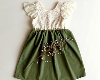 Cream and Olive Holiday or Flower Girl and Toddler Dress