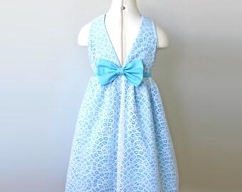 Blue Aqua Flower Girl Lace Dress