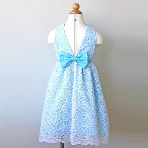 Blue Aqua Flower Girl Lace Dress