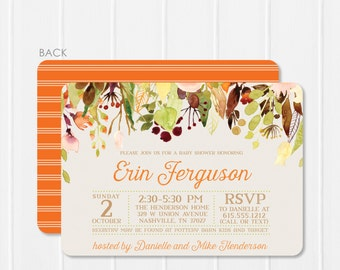 """Floral Baby Shower Invitation - Watercolor Baby Shower invitation - Watercolor Flower Baby Shower - Fall Baby Shower """"cascading flowers"""""""