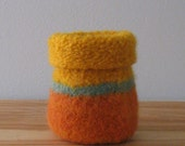 OOAK  Multi-Colored Merino Wool Felted Vase - In Stock - Ready to Ship