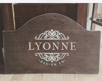 CUSTOM Business sign Wood Stained vintage
