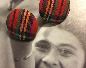 Vintage 80's Big button plaid post Plastic Earrings