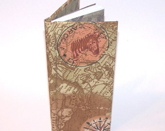 map patterned pocket notebook with lined pages