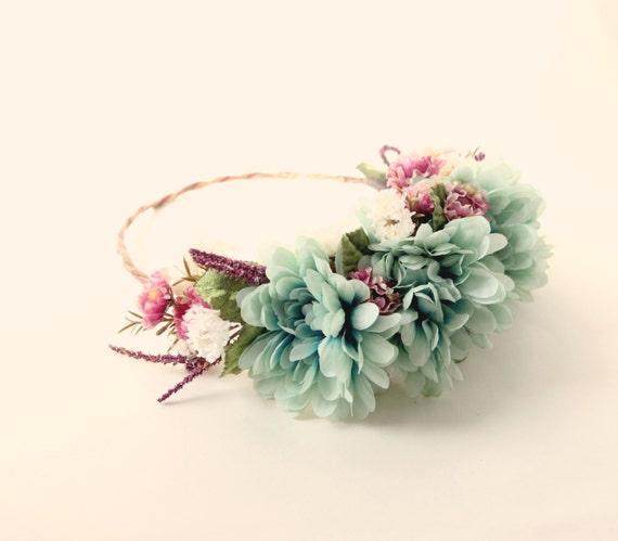 Teal flower crown, Autumn flower hair wreath, Aqua and plum bridal crown, Floral circlet, Bridal hair wreath, Woodland wedding accessory