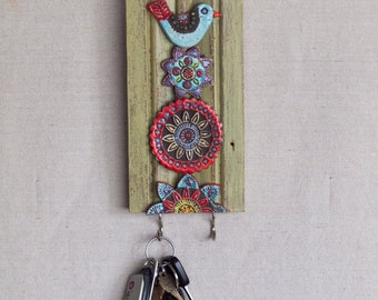 Key Hook READY TO SHIP Accessory Hanger Repurposed Trim Wall Art Colorful Ceramic Tiles Pottery Whimsical Blue Bird Scandinavian Folk Style