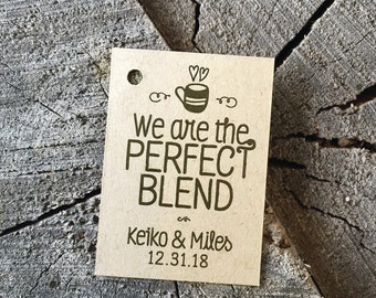 Perfect Blend Wedding Favor Tags - Coffee Party Favor Labels - Kraft Brown Rustic Tags