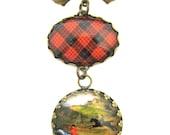 Scottish Tartan Jewelry - Ancient Romance Series- MacQueen Clan Tartan Sweet Bow Brooch with Victorian Equestrian Fob Charm