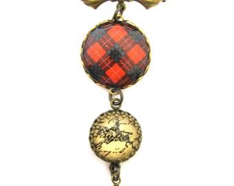 Scottish Tartan Jewelry - Ancient Romance - MacGregor of Balquhidder Clan Tartan Sweet Bow Brooch with Antique Equestrian Ephemera Charm