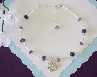 Lotus Amethyst Anklet and Sterling Silver, Purple Anklet, Silver Anklet, Beach, Vacation, Beach Wedding, Bridesmaid, best friend gift