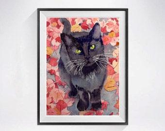 Black Cat, Watercolor Prints, Children's art, Black cat art print, Child's wall art decor black cat watercolour Black red Holiday Sale