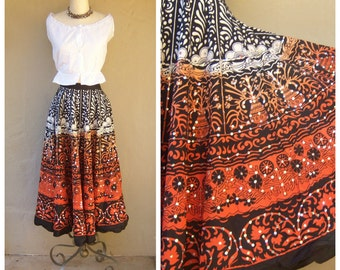 Vintage ombre circle skirt / SEQUINS ethnic batik skirt / India tribal festival skirt / sm xs