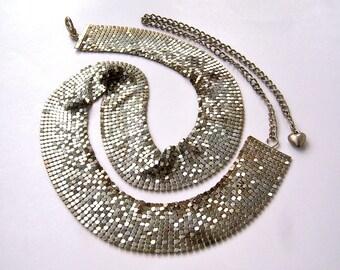 80s 90s chain maille belt / silvertone chain belt / disco boho club wear jewelry