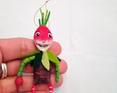 Vegetable Boy OOAK miniature feather tree spun cotton ornament veggie by Maria Paula