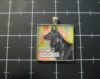 "Rescue Dog Pendant ""Adopt a Shelter Pet"", Belgian Malinois, Tervueren, Sheep Dog, 50% goes to the current focus animal charity"