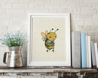Bee love - Animal Art - Holli - Nursery Wall Art - Nursery Decor - Childrens Art - Kids Wall Art - Nursery Art