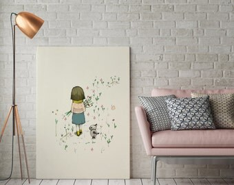 Children's wall Art, Big Print - Nursery wall art, Girl with dog walking, Art Poster, Wall Art, Illustration, Wall Decor