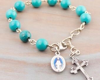 Turquoise Bracelet Pocket Rosary Chaplet Tenner Prayer BeadsEthnic Natural Gemstone Catholic Medal Cross For Him For Her