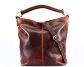 Distressed Brown Leather Handbag, Hobo, Tote, Purse