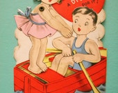 Vintage Mechanical Valentine's Day Card Girl Diving From Boat