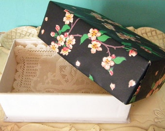 Vintage Edwardian Era Candy Box with Pink Dogwood Flowers on Black Background and Lace Insert