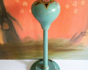 Vintage 1920's Era Hand Painted Hat Stand Turquoise Blue with Gold Art Deco Design