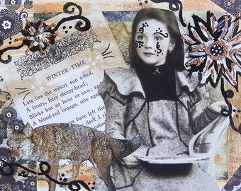 Handmade Altered Art Folded Greeting Card, Size 5x7, 3D, Blank Inside, Winter, Vintage Girl